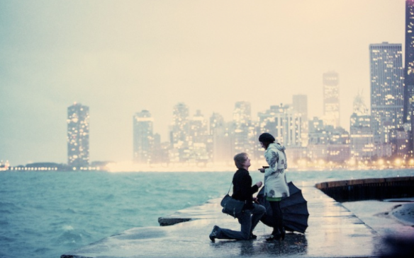 Man proposing to girl waterfront